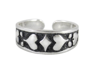 Sterling Silver Bold Hearts Band Adjustable Toe Ring