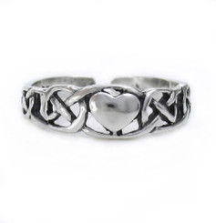 Sterling Silver Heart and Celtic Knot Adjustable Toe Ring