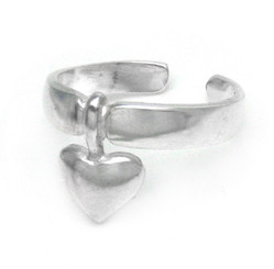 Sterling Silver Pointed Heart Adjustable Toe Ring