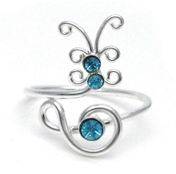 Sterling Silver Crystal Butterfly Adjustable Toe Ring, Aqua