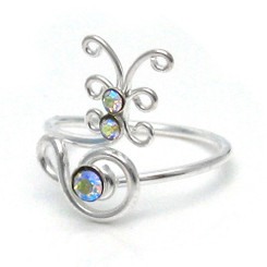 Sterling Silver Crystal Butterfly Adjustable Toe Ring, Clear AB