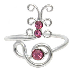 Sterling Silver Crystal Butterfly Adjustable Toe Ring, Pink