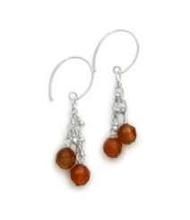 "Sterling Silver Gemstones Tiered Chain ""Talia"" Earrings, Carnelian"