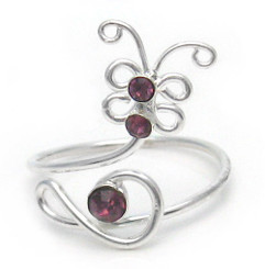 Sterling Silver Crystal Butterfly Adjustable Toe Ring, Purple