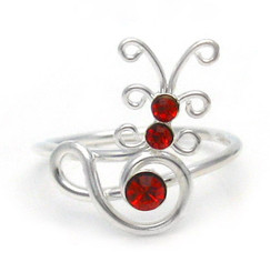 Sterling Silver Crystal Butterfly Adjustable Toe Ring, Red
