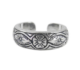 Sterling Silver Fancy Flower Pattern Band Adjustable Toe Ring