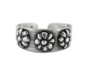 Sterling Silver Daisy Flowers Band Adjustable Toe Ring