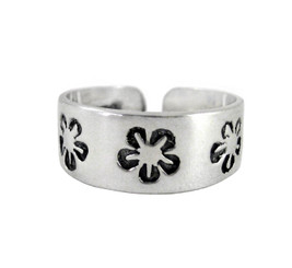 Sterling Silver Cherry Blossoms Band Adjustable Toe Ring