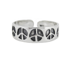 Sterling Silver Peace Signs on Sleek Band Adjustable Toe Ring