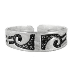 Sterling Silver Tribal Band Adjustable Toe Ring