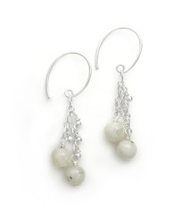 "Sterling Silver Gemstones Tiered Chain ""Talia"" Earrings, Moonstone"
