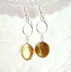 Sterling Silver Circle and Cultured Coin Pearl Drop Earrings, Gold