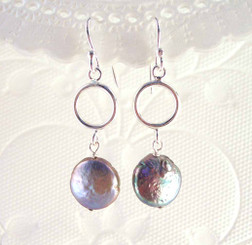 Sterling Silver Circle and Cultured Coin Pearl Drop Earrings, Peacock
