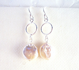 Sterling Silver Circle and Cultured Coin Pearl Drop Earrings, White