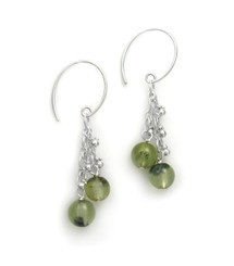"Sterling Silver Gemstones Tiered Chain ""Talia"" Earrings, Prehnite"