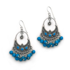 "Sterling Silver Bohemian ""Arya"" Stone Inlay and Stone Cluster Earrings, Blue Howlite"