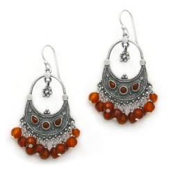 "Sterling Silver Bohemian ""Arya"" Stone Inlay and Semi-precious Stones Cluster Earrings, Carnelian"