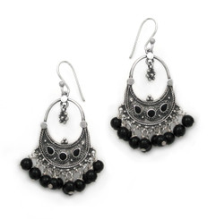 "Sterling Silver Bohemian ""Arya"" Stone Inlay and Stones Cluster Earrings, Onyx"