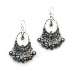 "Sterling Silver Bohemian ""Arya"" Shell Inlay Cultured Freshwater Pearls Cluster Earrings, Peacock Pearls"
