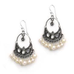 """Sterling Silver Bohemian """"Arya"""" Shell Inlay and Cultured Freshwater Pearls Cluster Earrings, White Pearls"""