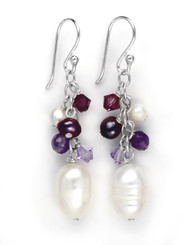 Sterling Silver Pearls, Crystals, and Amethyst Stone Cluster with Pearl Drop Earrings