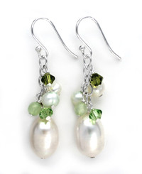 Sterling Silver Pearls, Crystals, and Green Stones Cluster with Pearl Drop Earrings