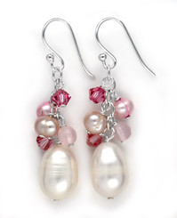 Sterling Silver Pearls, Swarovski Crystals, and Pink Stones Cluster with Pearl Drop Earrings