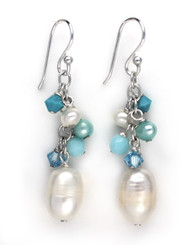Sterling Silver Pearls, Crystals, and Blue Stones Cluster with Pearl Drop Earrings