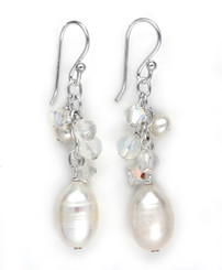 Sterling Silver White Pearls, Crystals, and Clear Quartz Cluster with Pearl Drop Earrings