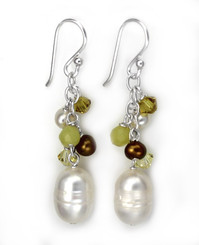 Sterling Silver Pearls, Crystals, and Lemon Quartz Stones Cluster with Pearl Drop Earrings