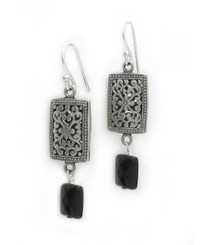 "Sterling Silver Ornate Flower and Swirls with Faceted Rectangle Drop ""Valentina"" Earrings, Black"