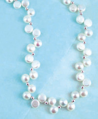 "Freshwater ""Dancing"" White Pearl Necklace, 16"""