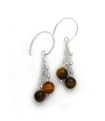 "Sterling Silver Gemstones Tiered Chain ""Talia"" Earrings, Tiger's Eye"