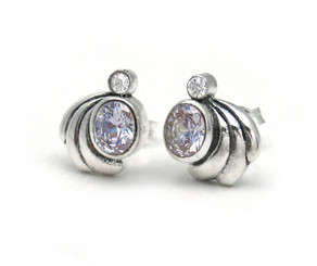 Sterling Silver Crystals and Side Swirl Stud Post Earrings, Lavender