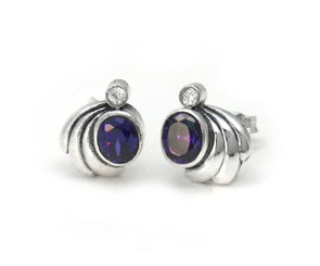 Sterling Silver Crystals and Side Swirl Stud Post Earrings, Purple
