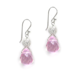 "Sterling Silver ""Geneva"" Crystal and Woven Bead Drop Earrings, Pink"