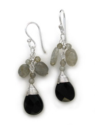 "Sterling Silver Gemstone and Crystals ""Venessa"" Drop Earrings, Labadorite and Black"