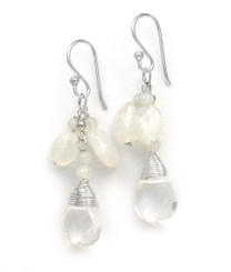 "Sterling Silver Gemstone and Crystals ""Venessa"" Drop Earrings, Moonstone and Clear"