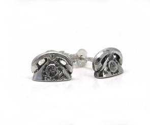 Sterling Silver Base and Receiver Rotary Dial Telephone Stud Post Earrings