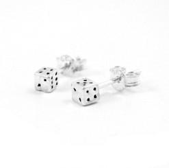 Sterling Silver Dice Post Earrings