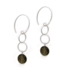 Sterling Silver Stone Drop Circle Links on Oval Hook, Round Smoky