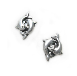 Sterling Silver Playful Double Dolphins Stud Post Earrings