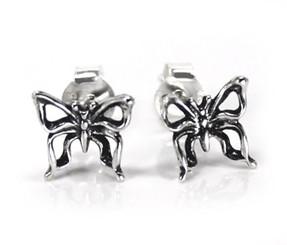 Sterling Silver Elegant Butterfly Stud Post Earrings