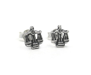 Sterling Silver Balanced Scales Stud Post Earrings