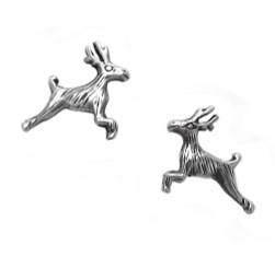 Sterling Silver Leaping Deers Crossing Stud Post Earrings