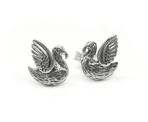 Sterling Silver Winged Bird Swan Stud Post Earrings