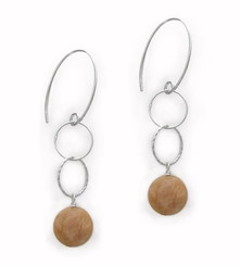 Sterling Silver Stone Drop Circle Links on Oval Hook, Sunstone