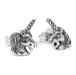Sterling Silver Magical Unicorn Head Post Stud Earrings