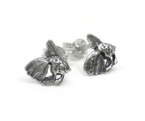 Sterling Silver Goldfish Stud Post Earrings