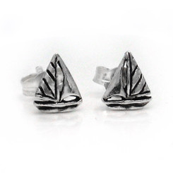 Sterling Silver Sailboat Stud Post Earrings